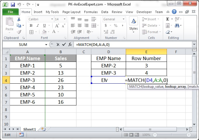 MATCH Formula Example
