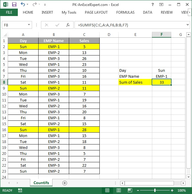 SUMIFS formula in Excel