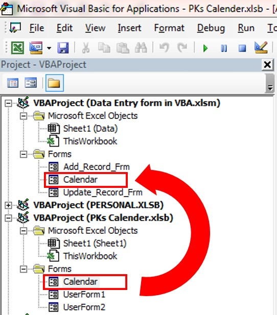 Move Calendar to your VBA Project using Mouse