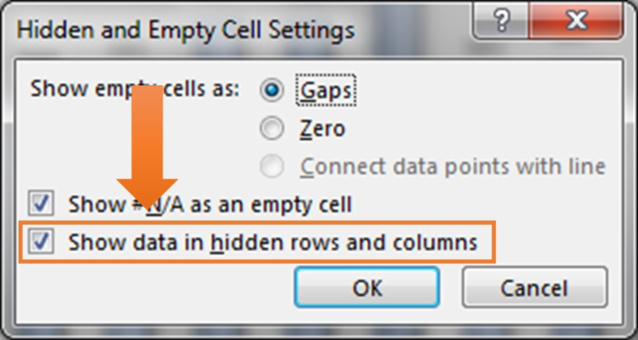 Hidden and Empty Cells Setting window