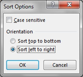 Sort Options window