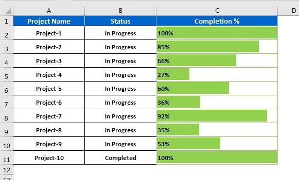 Progress Bar in Excel cell