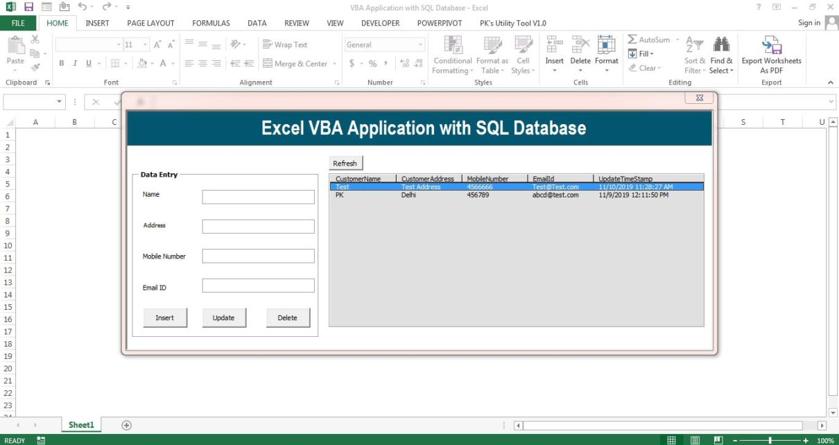 VBA Application with SQL Database
