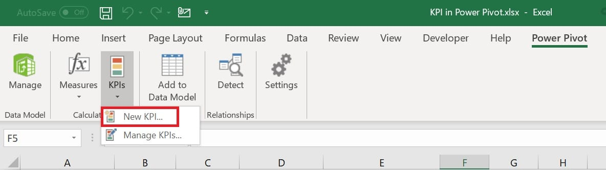 Create KPI from Power Pivot tab in Excel Ribbon