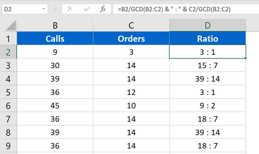 Ratio Calculation in Excel