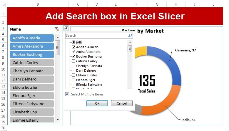 Add Search box in Excel Slicer