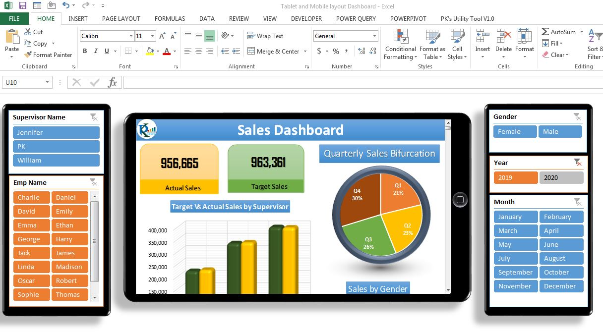 Tablet Layout Dashboard