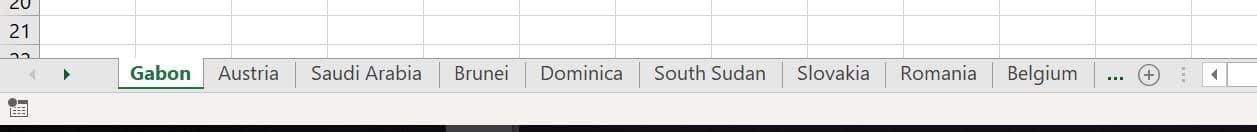 Excel Sheet Tabs