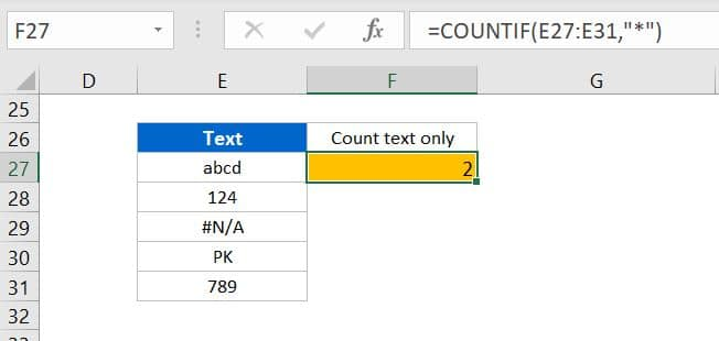 Count of only text values from a range