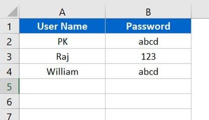 User list worksheet