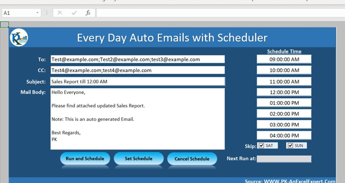 Auto Email using Schedule