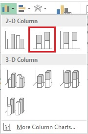 Insert Stacked 2D Column Chart