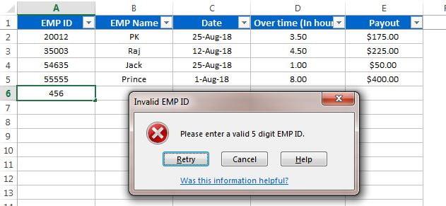Invalid Emp Id error