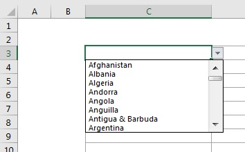 Countries list in drop-down