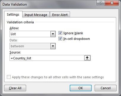 Data Validation Window