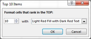 Top 10 Items window