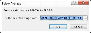 Below Average window in Conditional formatting