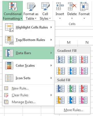 Data Bars option in Conditional formatting