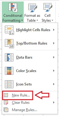 New Rules Option in conditional Formatting