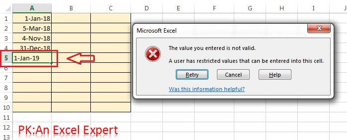 Error on entering invalid value