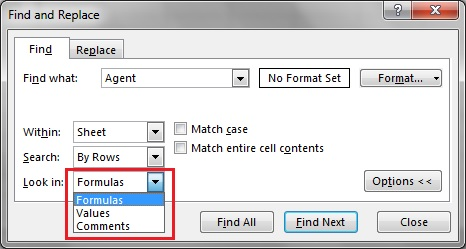 Look in option in Find and Replace window