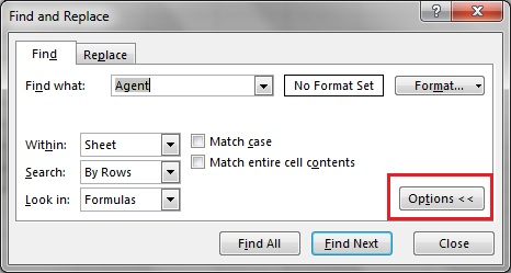 Options button in Find and Replace Window