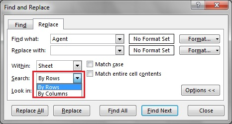 Search Option in Find and Replace window