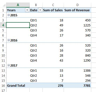 Outline Form layout in pivot table