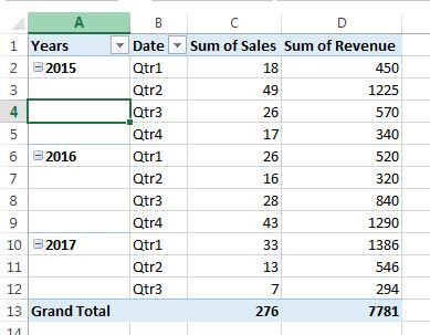 Tabular form layout in pivot table