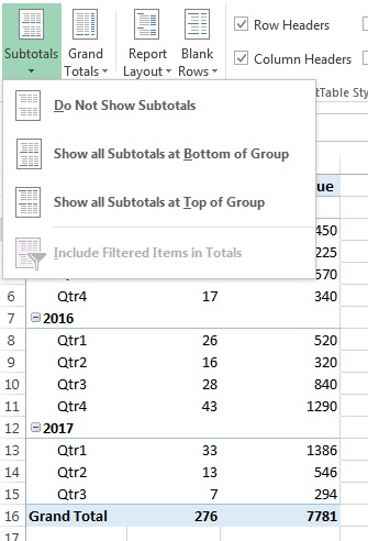 Show Subtotals option in pivot table