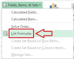 List formulas option