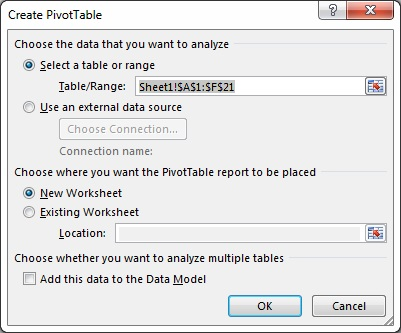 Create Pivot Table Window