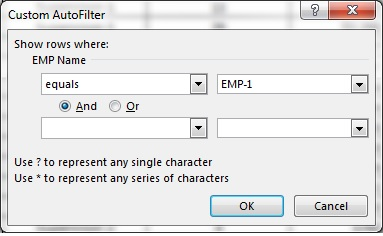 Equals Filter option
