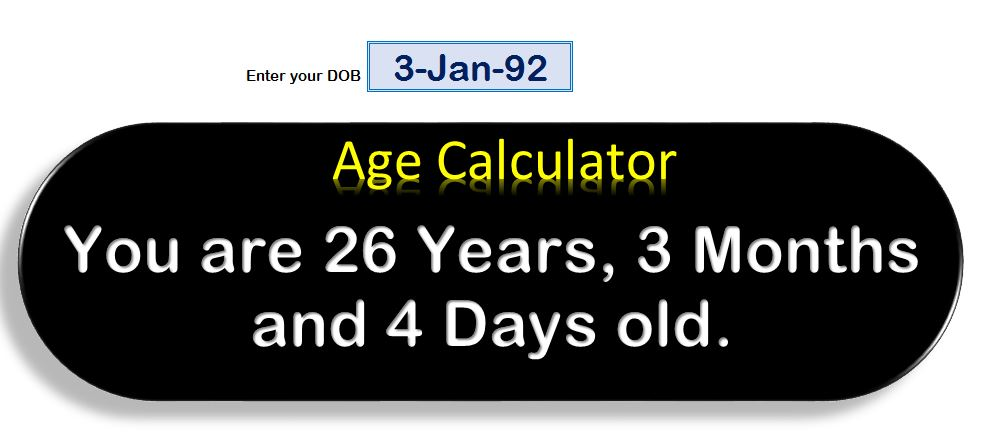 Age Calculator in Excel