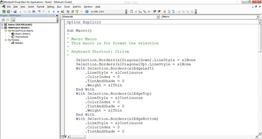 Code in Visual Basic Editor