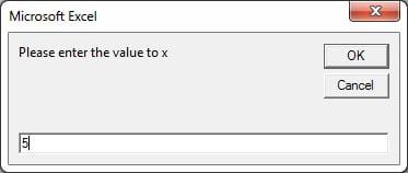 Input value of x