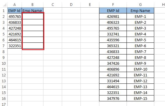 Data to use formula