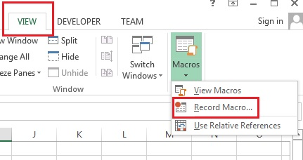 Record Macro Option in View Tab